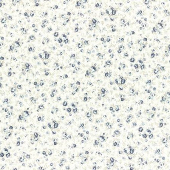 Durham cotton fabric by Lecien 31466-70 Tiny Blue Roses on Light Cream