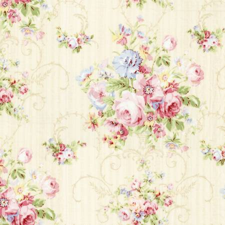 Pearl White Floral  Rococo & Sweet cotton fabric by Lecien 31860-10