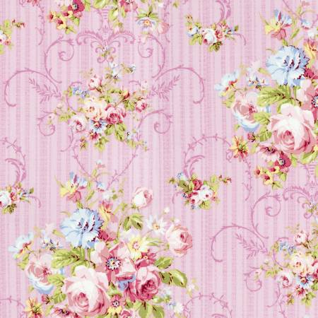 Baby Pink Floral  Rococo & Sweet cotton fabric by Lecien 31860-20