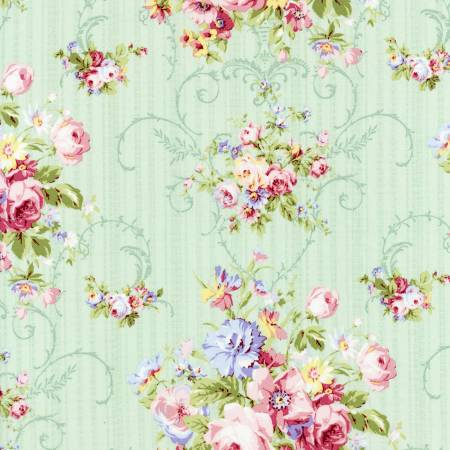 Robin's Egg Floral  Rococo & Sweet cotton fabric by Lecien 31860-60