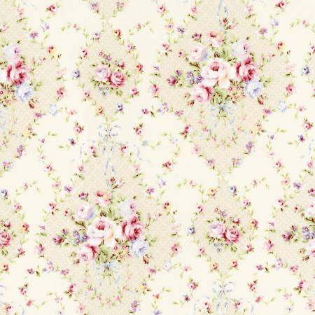 Pearl White Diamonds Floral  Rococo & Sweet cotton fabric by Lecien 31861-10