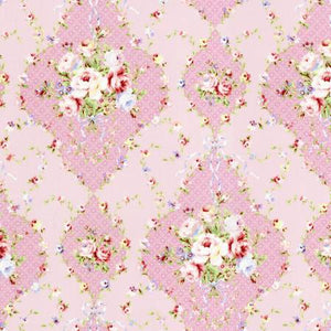 Baby Pink Diamonds Floral  Rococo & Sweet cotton fabric by Lecien 31861-20