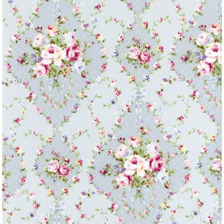 Fog Diamonds Floral  Rococo & Sweet cotton fabric by Lecien 31861-90