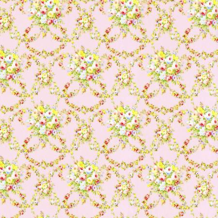 Baby Pink Garlands Floral  Rococo & Sweet cotton fabric by Lecien 31862-20
