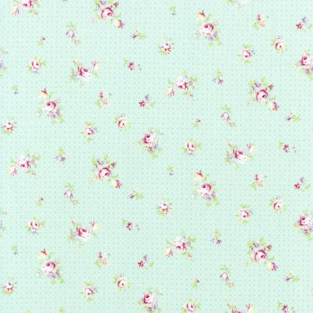Robins Egg Scattered Roses Floral  Rococo & Sweet cotton fabric by Lecien 31863-60