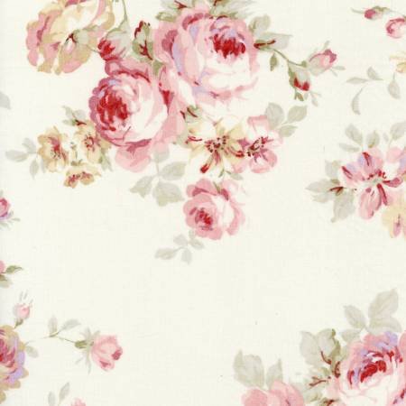 Durham Quilt Collection 2019 cotton fabric by Lecien 31926-10 Roses on Cream