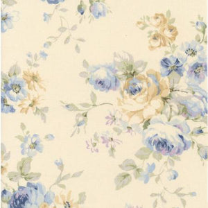 Durham Quilt Collection 2019 cotton fabric by Lecien 31926-70 Blue Roses on Ivory