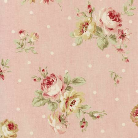 Durham Quilt Collection 2019 cotton fabric by Lecien 31927-20  Roses on Pink with Dots