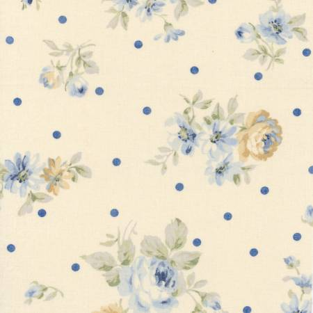 Durham Quilt Collection 2019 cotton fabric by Lecien 31927-70 Blue Roses on Ivory with Dots
