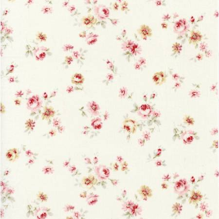 Durham Quilt Collection 2019 cotton fabric by Lecien 31928-10  Small Roses on Cream