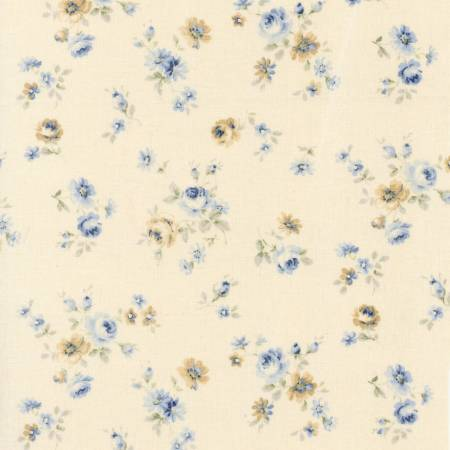 Durham Quilt Collection 2019 cotton fabric by Lecien 31928-70  Small Blue Roses on Ivory