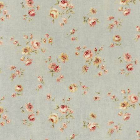 Durham Quilt Collection 2019 cotton fabric by Lecien 31928-71  Small  Roses on Blue