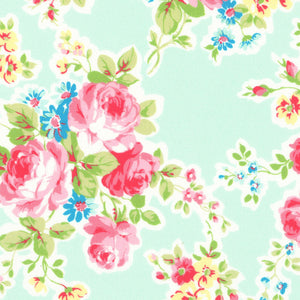 Antique Flower In Pastel by Lecien Cotton Fabric 35070-70 Roses on Pale Blue