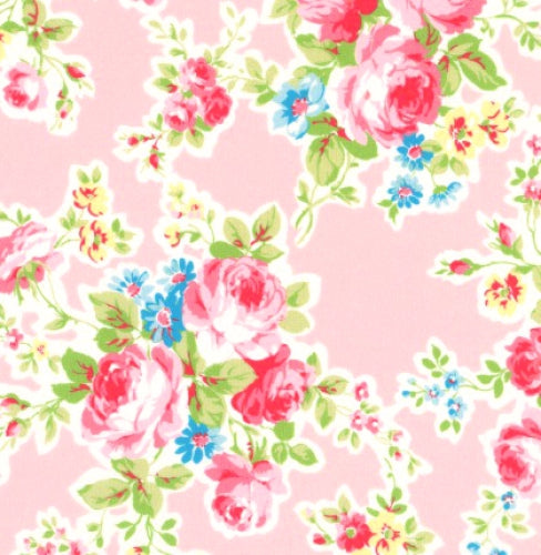 Antique Flower In Pastel by Lecien Cotton Fabric 35070-20 Roses on Pink