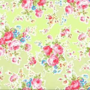 Antique Flower In Pastel by Lecien Cotton Fabric 35070-50 Roses on Pale Yellow