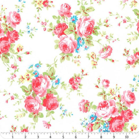 Antique Flower In Pastel by Lecien Cotton Fabric 35070-10 Roses on White