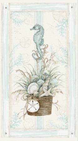 Coastal Wishes By Susan Winget for Wilmington Prints Cotton Fabric Panel 39618-241 Seahorse