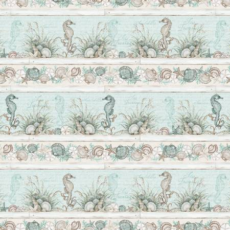 Coastal Wishes By Susan Winget Cotton Fabric Repeating Stripe 39619-421