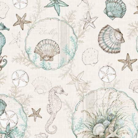 Coastal Wishes By Susan Winget Cotton Fabric Sea Shells Starfish Cream 39620-224
