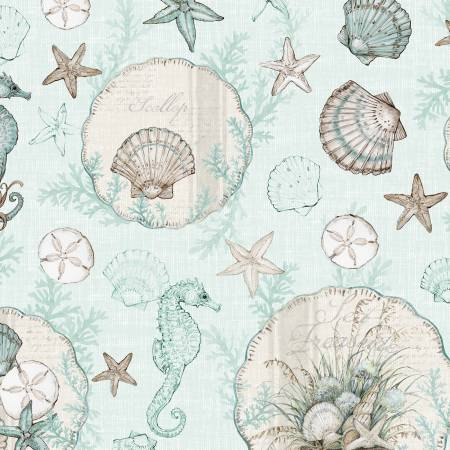 Coastal Wishes By Susan Winget Cotton Fabric Sea Shells Starfish Blue 39620-424