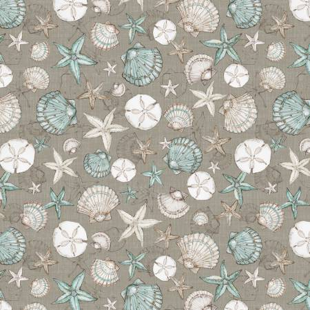 Coastal Wishes By Susan Winget Cotton Fabric Seashells on Brown 39621-214