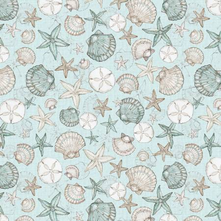 Coastal Wishes By Susan Winget Cotton Fabric Seashells on Blue 39621-414