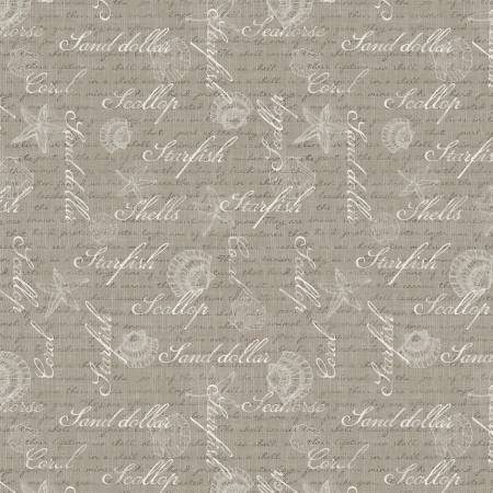 Coastal Wishes By Susan Winget Cotton Fabric Words on Brown 39624-212