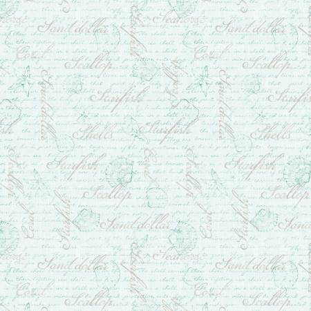 Coastal Wishes By Susan Winget Cotton Fabric Words on Cream 39624-424