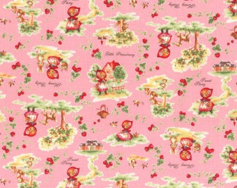 Little Heroine  cotton retro fabric by Lecien 40354-20 Scenic on Pink