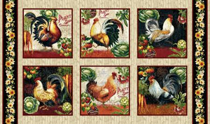 Farmer's Market cotton fabric by Studio E 4451S-44 Rooster Panel