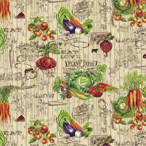 Cream Veggie Toss Farmer's Market  Cotton Fabric by Studio E 4452-44