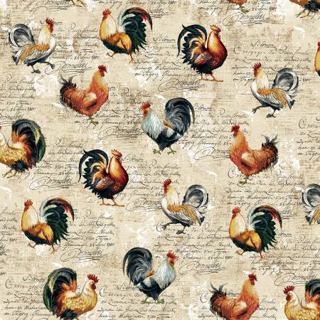 Cream Roosters Farmer's Market  Cotton Fabric by Studio E 4454-44