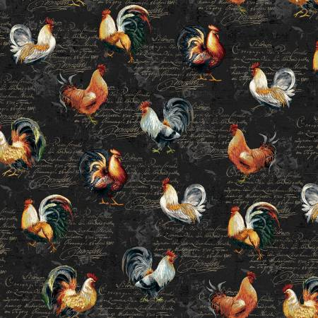 Black Roosters Farmer's Market  Cotton Fabric by Studio E 4454-99