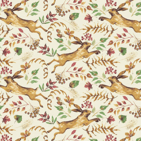 Fables Collection by Laura Ashley for Camelot Fabrics  Cotton Fabric Cream Hare 71180401-2