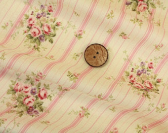 Yuwa cotton fabric pink stripe with roses 816921A Floral with Pink Stripe