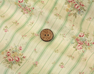 Yuwa cotton fabric green stripe with roses 816921B