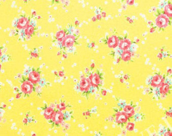 Yuwa cotton fabric  Roses on Yellow 819958C