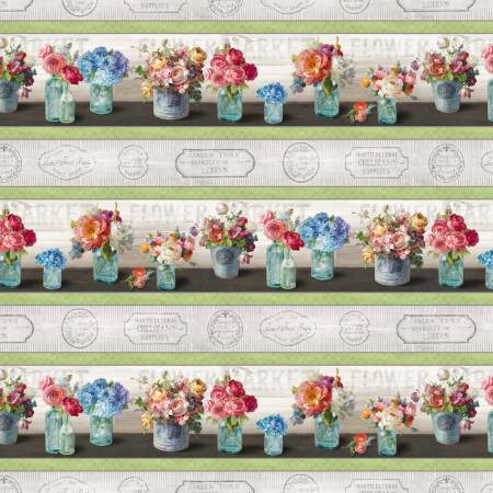 Flower Market by Danhui Nai  Cotton Fabric  89207-973 Repeating Stripe Bouquets of Flowers