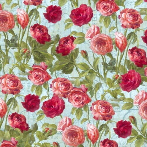 Flower Market by Danhui Nai  Cotton Fabric  89210-437 Blue Climbing Rose