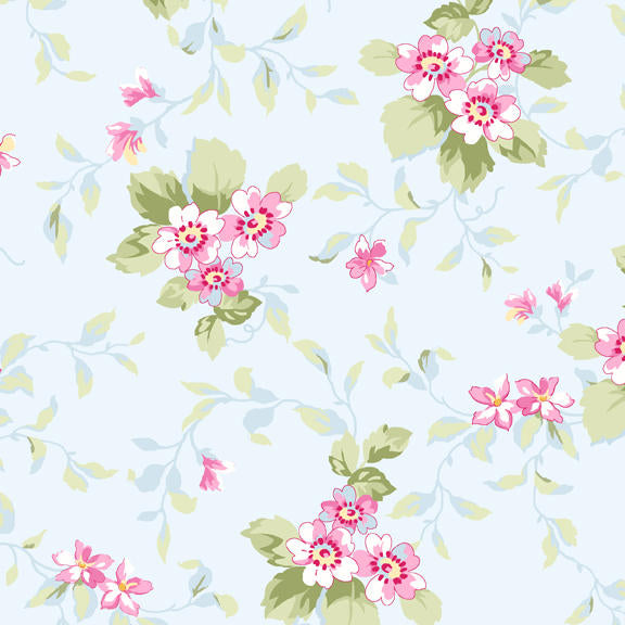 Ballet Rose cotton fabric by Rachel Ashwell 921blue  Floral on light blue