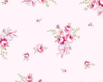 Ballet Rose cotton fabric by Rachel Ashwell 924p small pink rose bouquets on a light pink background