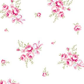 Ballet Rose cotton fabric by Rachel Ashwell 924w small pink rose bouquets on white