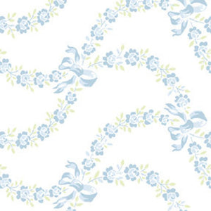 Ballet Rose cotton fabric by Rachel Ashwell 925blue  Floral and Bows