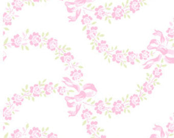 Ballet Rose cotton fabric by Rachel Ashwell 925pink  Floral and Bows