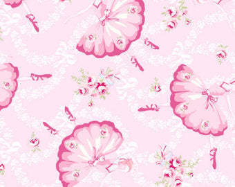Ballet Rose cotton fabric by Rachel Ashwell 927pink Ballerina