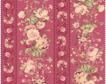 Mary Rose cotton fabric by Quilt Gate MR2140-12D  Floral Stripe Red