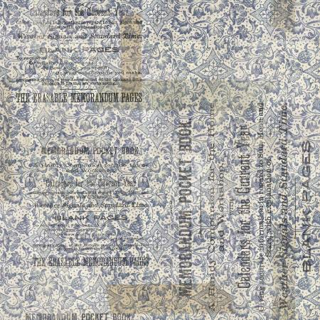 Memoranda 2 cotton fabric by Tim Holtz for Free Spririt PWTH100-Blue