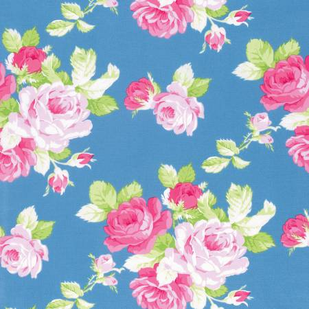 Sadie's Dance Card cotton fabric by Tanya Whelan for Free Spirit PWTW123blue