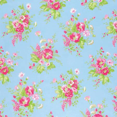 Sadie's Dance Card cotton fabric by Tanya Whelan for Free Spirit PWTW125Blue