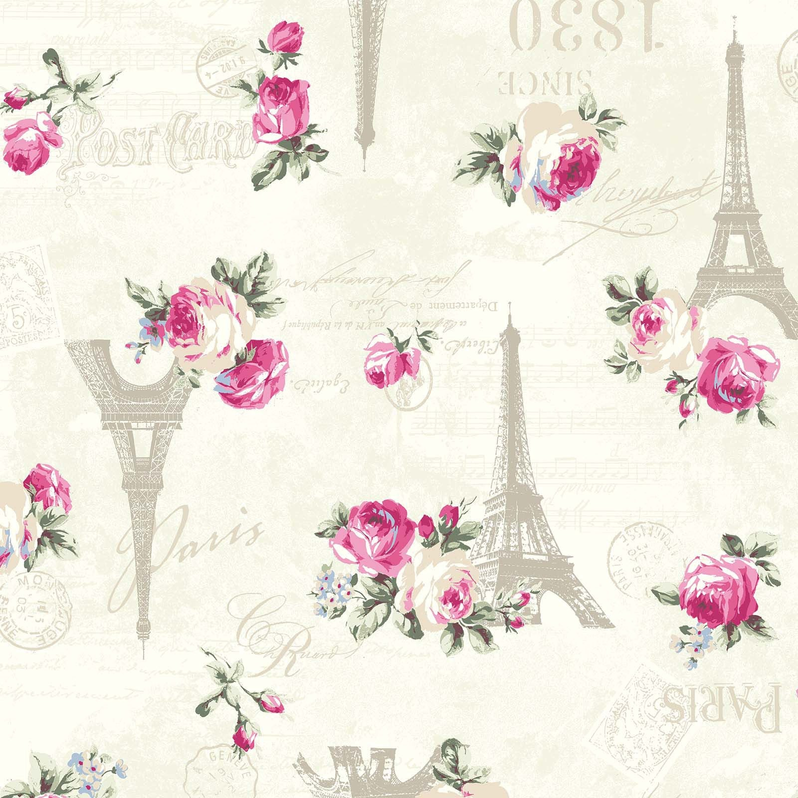 Ruru Rose Bouquet in Paris cotton fabric by Quilt Gate Ru2370-12A Eiffel Tower Roses on Cream